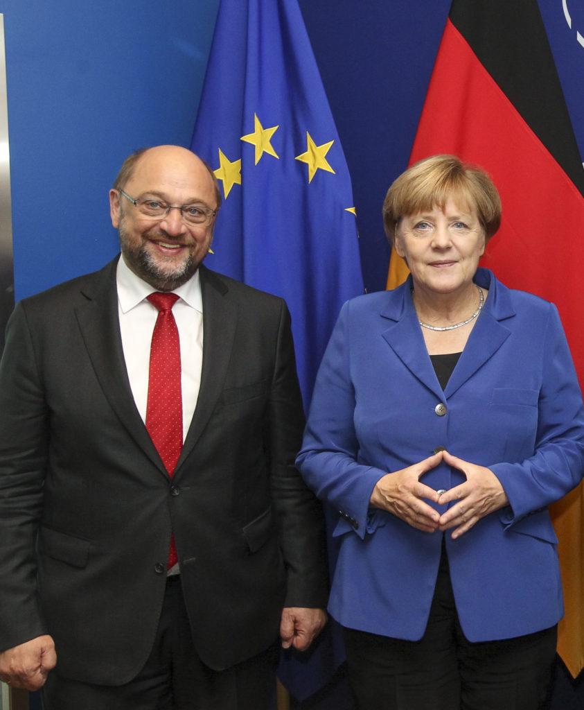 Martin Schulz et Angela Merkel, deux figures charismatiques d'une Allemagne fractionnée. © European Union 2014